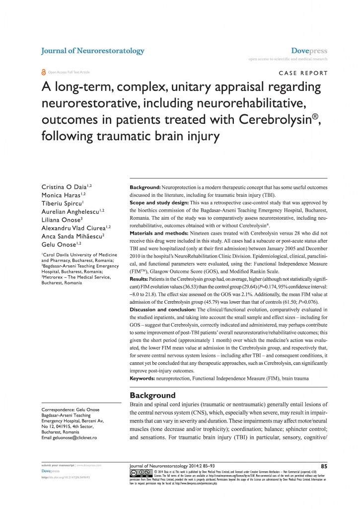 A long-term, complex, unitary appraisal regarding neurorestorative, including neurorehabilitative,outcomes in patients treated with Cerebrolysin®,following traumatic brain injury
