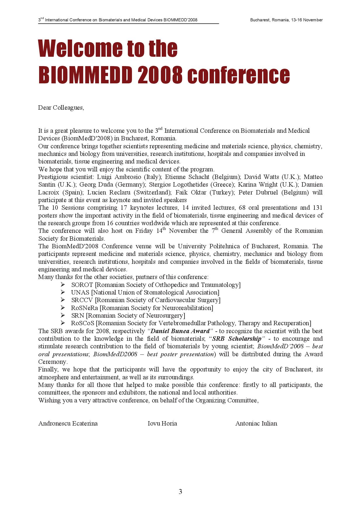 3rd International Conference on Biomaterials and Medical Devices BIOMMEDD'2008